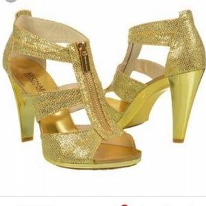 Michael Kors Berkeley T Strap Gold Heels